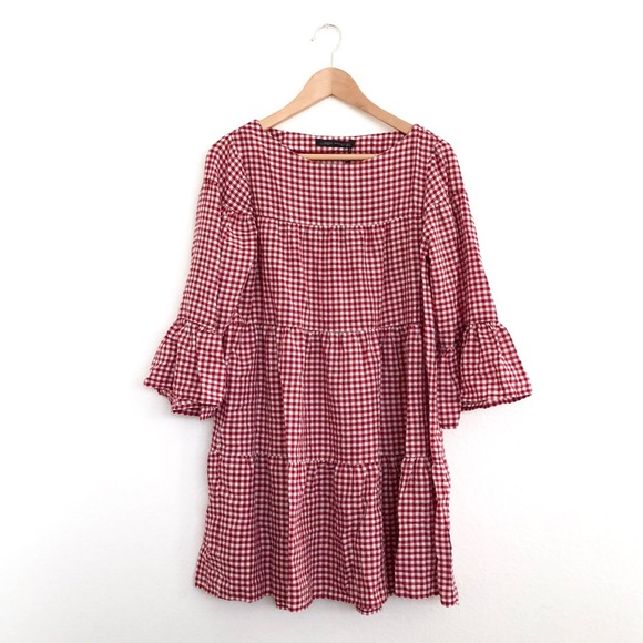 48fb369b14 Zara Dresses | Woman Red Gingham Dress | Poshmark